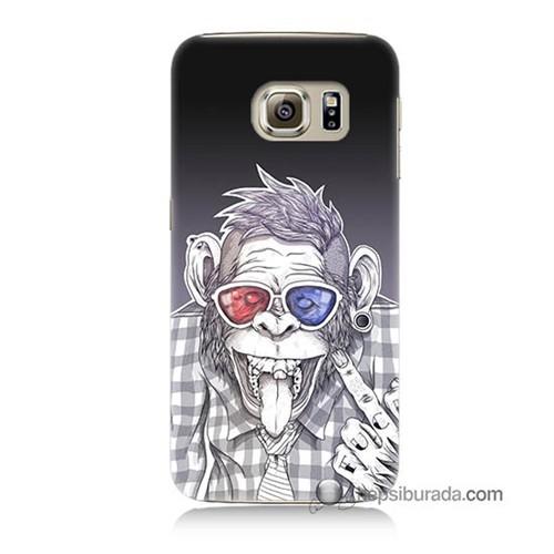 Teknomeg Samsung Galaxy S6 Kapak Kılıf Maymun Baskılı Silikon