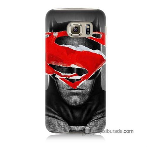 Teknomeg Samsung Galaxy S6 Kapak Kılıf Batman Vs Superman Baskılı Silikon