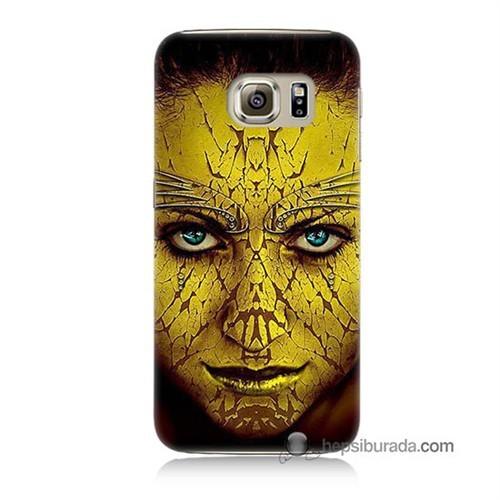 Teknomeg Samsung Galaxy S6 Kapak Kılıf Sarı Kız Baskılı Silikon