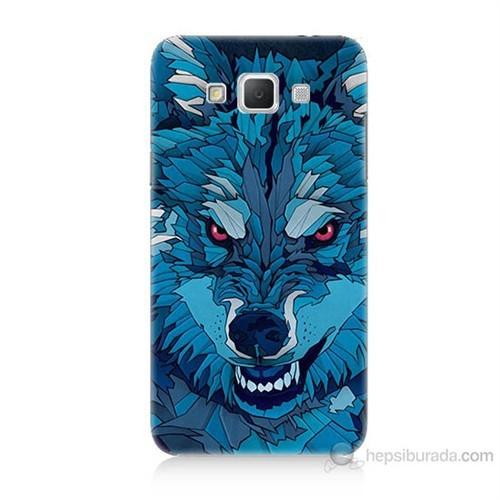 Teknomeg Samsung Galaxy Grand Max Mavi Kurt Baskılı Silikon Kılıf