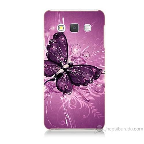 Teknomeg Samsung Galaxy A5 Mor Kelebek Baskılı Silikon Kılıf