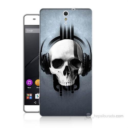Teknomeg Sony Xperia C5 Müzik Dinleyen Kurukafa Baskılı Silikon Kılıf