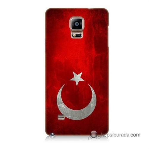 Teknomeg Samsung Galaxy Note 4 Kılıf Kapak Türkiye Bayrağı Baskılı Silikon