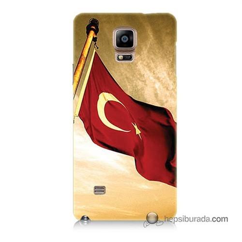 Teknomeg Samsung Galaxy Note 4 Kılıf Kapak Türk Bayrağı Baskılı Silikon