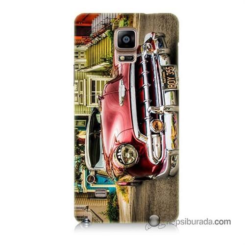 Teknomeg Samsung Galaxy Note 4 Kapak Kılıf Klasik Araba Baskılı Silikon