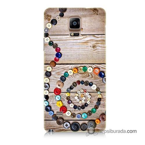 Teknomeg Samsung Galaxy Note 4 Kapak Kılıf Düğmeler Baskılı Silikon