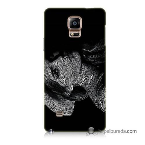 Teknomeg Samsung Galaxy Note 4 Kılıf Kapak Yazılı Kadın Baskılı Silikon