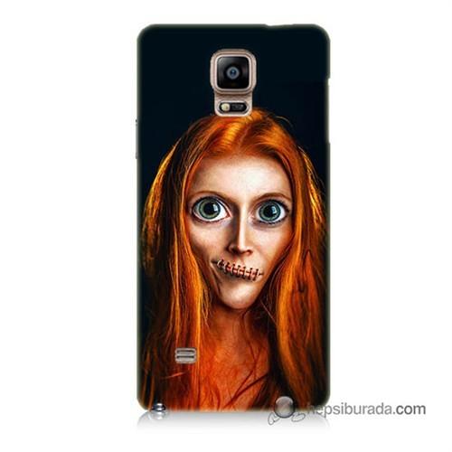 Teknomeg Samsung Galaxy Note 4 Kılıf Kapak Zombie Kız Baskılı Silikon