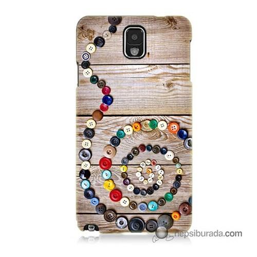Teknomeg Samsung Galaxy Note 3 Kapak Kılıf Düğmeler Baskılı Silikon