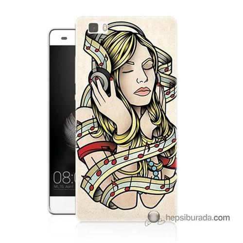 Teknomeg Huawei P8 Lite Kapak Kılıf Müzik Aşkı Baskılı Silikon