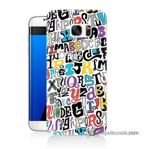 Teknomeg Samsung Galaxy S7 Edge Kılıf Kapak Renkli Harfler Baskılı Silikon
