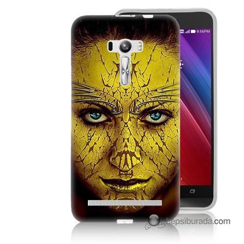 Teknomeg Asus Zenfone Selfie Kapak Kılıf Sarı Kız Baskılı Silikon
