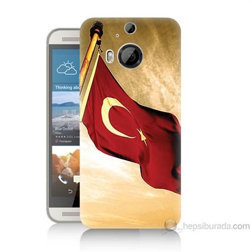 Teknomeg Htc One M9 Plus Türk Bayrağı Baskılı Silikon Kılıf