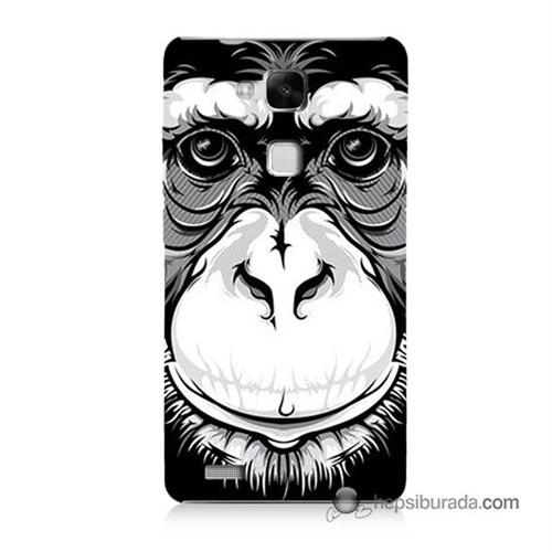 Teknomeg Huawei Mate 7 Kılıf Kapak Maymun Baskılı Silikon