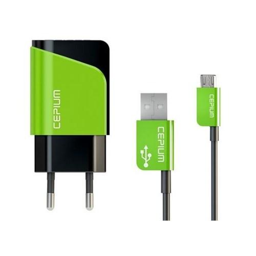 Cepium 2.1 Ev Şarj Cihazı ve Mikro USB Kablo-Yeşil - TR-1453/2_Y