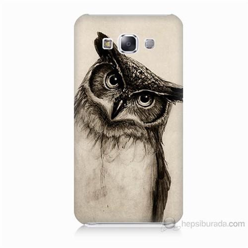 Teknomeg Samsung Galaxy E7 Düşünen Baykuş Baskılı Silikon Kılıf