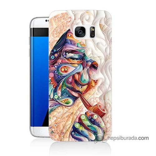 Teknomeg Samsung Galaxy S7 Edge Kılıf Kapak Kağıt Sanatı Baskılı Silikon