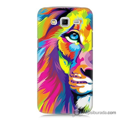 Teknomeg Samsung Galaxy Grand 2 Kılıf Kapak Renkli Aslan Baskılı Silikon