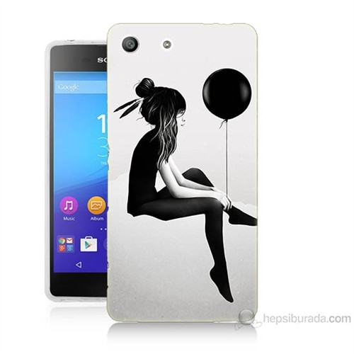 Teknomeg Sony Xperia M5 Balonlu Kız Baskılı Silikon Kılıf