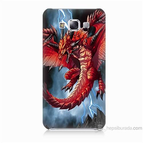 Teknomeg Samsung Galaxy E5 Kapak Kılıf Dragon Baskılı Silikon