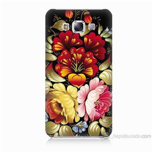 Teknomeg Samsung Galaxy E7 Kılıf Kapak Çiçekler Baskılı Silikon