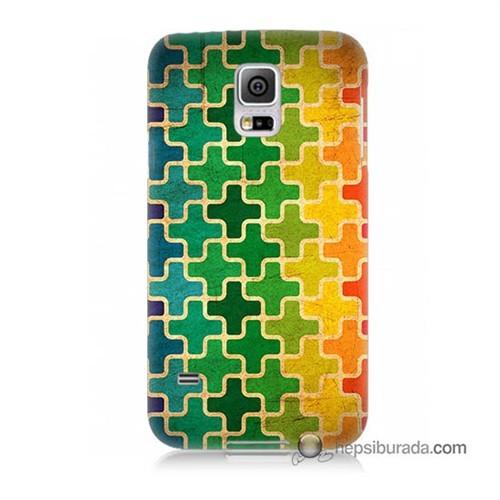 Teknomeg Samsung Galaxy S5 Mini Kapak Kılıf Renkli Artı Baskılı Silikon