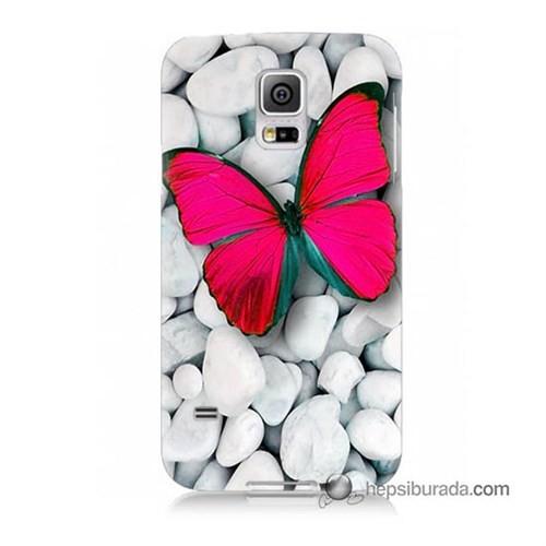 Teknomeg Samsung Galaxy S5 Mini Kapak Kılıf Kelebek Baskılı Silikon