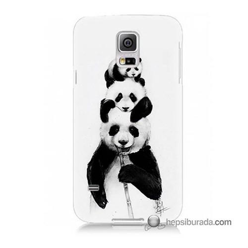 Teknomeg Samsung Galaxy S5 Mini Kapak Kılıf Panda Ailesi Baskılı Silikon