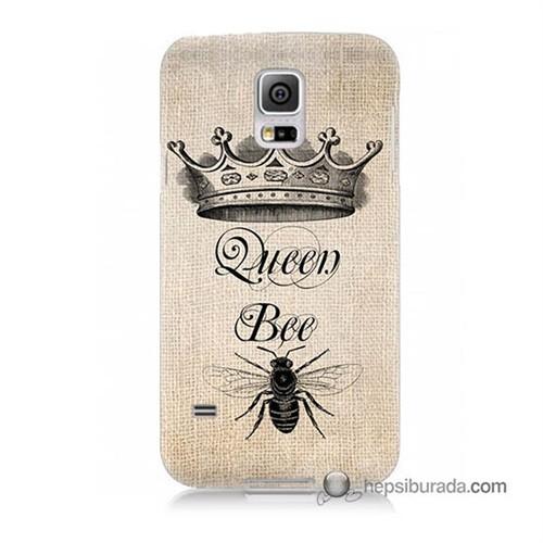 Teknomeg Samsung Galaxy S5 Mini Kılıf Kapak Queen Bee Baskılı Silikon