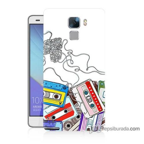 Teknomeg Huawei Honor 7 Kapak Kılıf Kasetler Baskılı Silikon