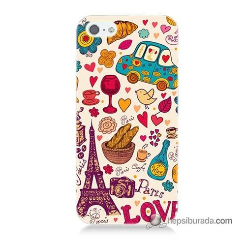 Teknomeg İphone 5S Kapak Kılıf Paris Love Baskılı Silikon