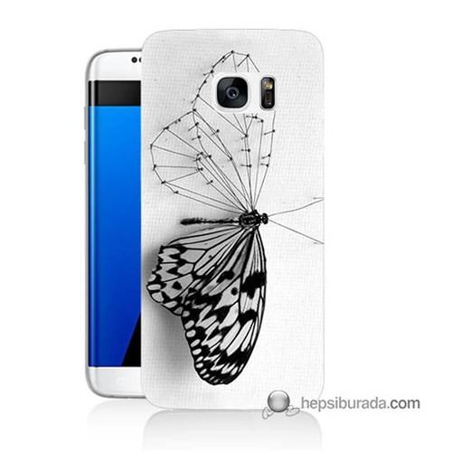 Teknomeg Samsung Galaxy S7 Edge Kapak Kılıf Kanatsız Kelebek Baskılı Silikon