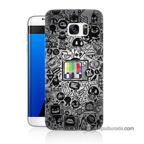 Teknomeg Samsung Galaxy S7 Edge Kapak Kılıf Renkli Tv Baskılı Silikon