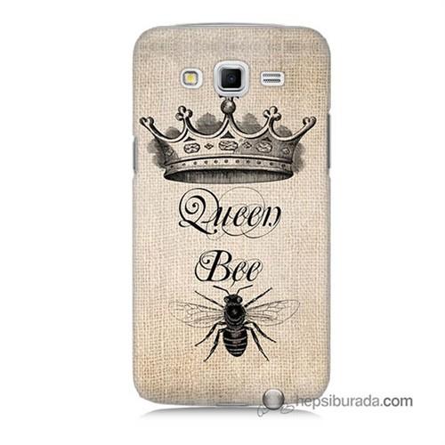 Teknomeg Samsung Galaxy Grand 2 Kılıf Kapak Queen Bee Baskılı Silikon