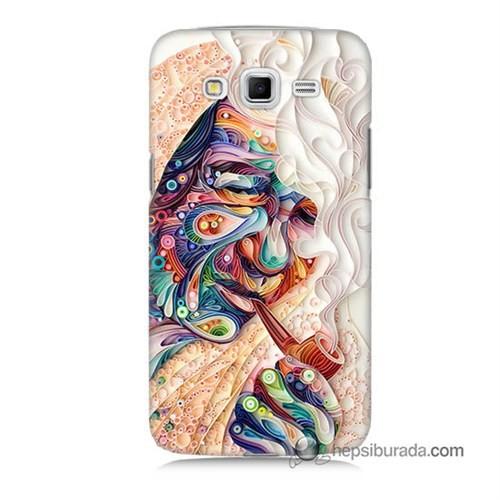 Teknomeg Samsung Galaxy Grand 2 Kılıf Kapak Kağıt Sanatı Baskılı Silikon