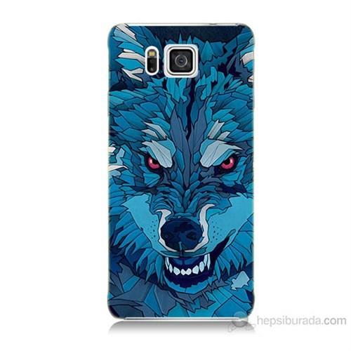 Teknomeg Samsung Galaxy Alpha G850 Mavi Kurt Baskılı Silikon Kılıf