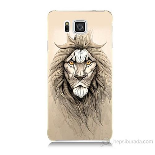 Teknomeg Samsung Galaxy Alpha G850 Beyaz Aslan Baskılı Silikon Kılıf