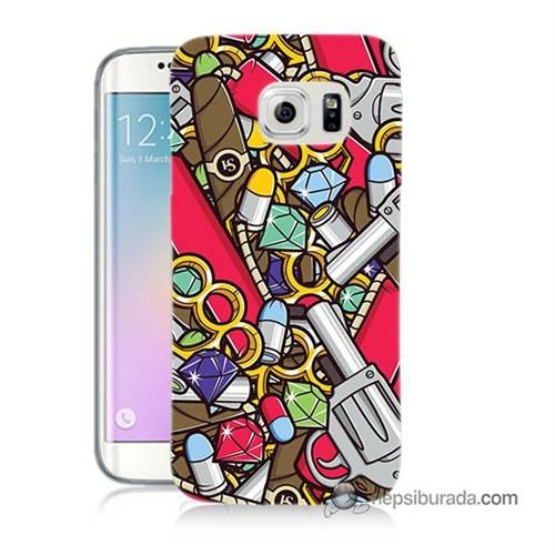 Teknomeg Samsung Galaxy S6 Edge Kılıf Kapak Cephane Baskılı Silikon