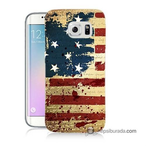Teknomeg Samsung Galaxy S6 Edge Kılıf Kapak Amerika Bayrağı Baskılı Silikon