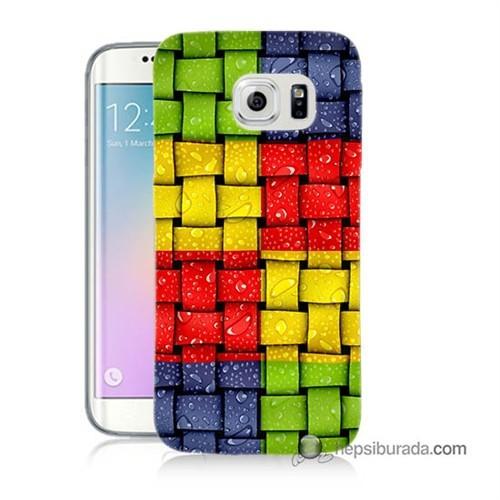 Teknomeg Samsung Galaxy S6 Edge Kılıf Kapak Renkli Sargılar Baskılı Silikon