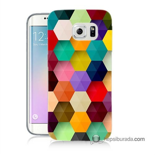 Teknomeg Samsung Galaxy S6 Edge Kapak Kılıf Renkli Petek Baskılı Silikon