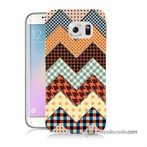 Teknomeg Samsung Galaxy S6 Edge Kapak Kılıf Patchwork Baskılı Silikon