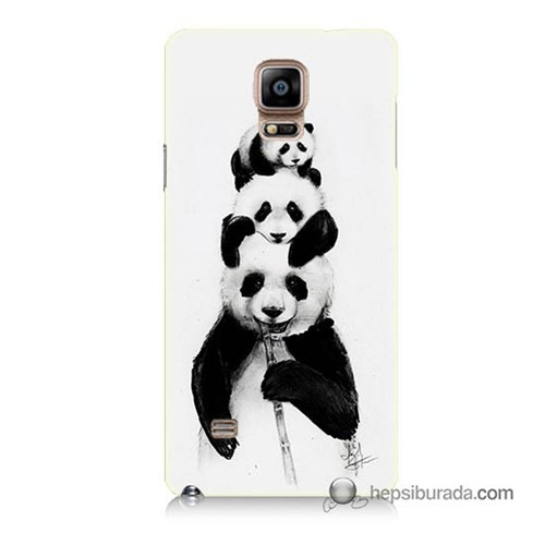 Teknomeg Samsung Galaxy Note 4 Kapak Kılıf Panda Ailesi Baskılı Silikon