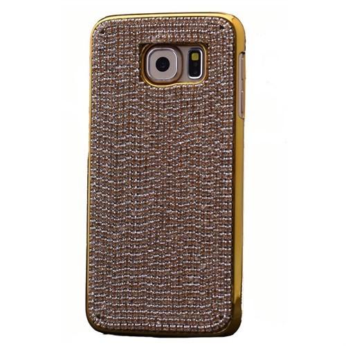 Teleplus Samsung Galaxy S6 Edge Taşlı Rubber Kapak Sarı