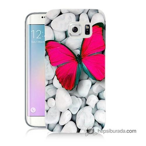 Teknomeg Samsung Galaxy S6 Edge Plus Kapak Kılıf Kelebek Baskılı Silikon