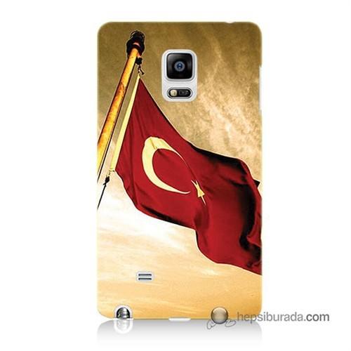 Teknomeg Samsung Galaxy Note Edge Kılıf Kapak Türk Bayrağı Baskılı Silikon