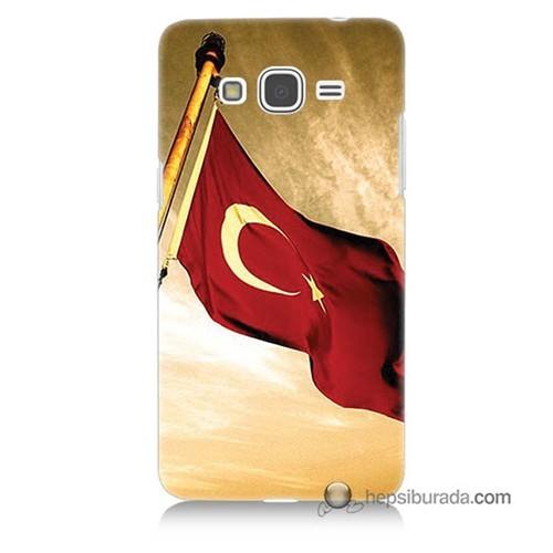 Teknomeg Samsung Galaxy Grand Prime Kılıf Kapak Türk Bayrağı Baskılı Silikon