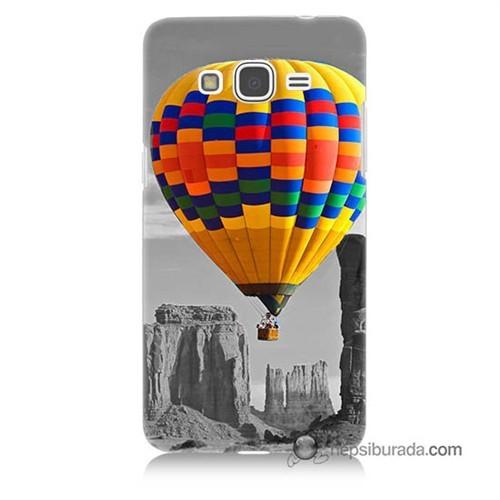 Teknomeg Samsung Galaxy Grand Prime Kılıf Kapak Renkli Uçan Balon Baskılı Silikon