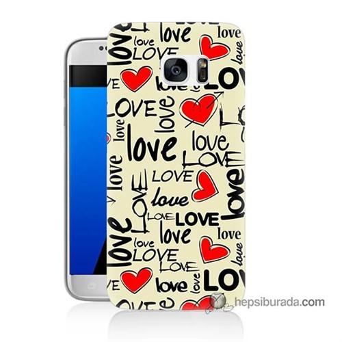 Teknomeg Samsung Galaxy S7 Kapak Kılıf Love Baskılı Silikon
