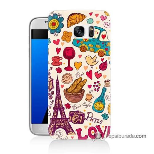 Teknomeg Samsung Galaxy S7 Kapak Kılıf Paris Love Baskılı Silikon